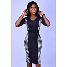0e75ea60e2 Navy Blue And Check Bodycon With Snatched Waist Belt.