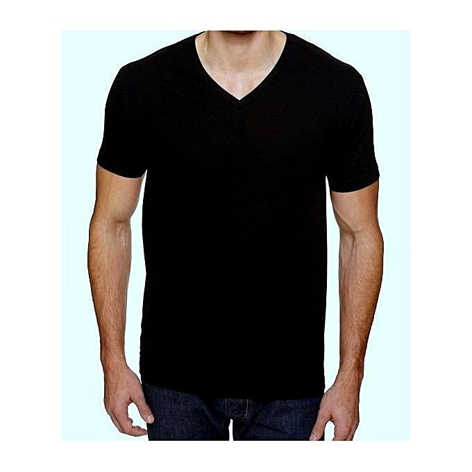 BnB Men s Plain Black V-neck T-shirt  02daab53d