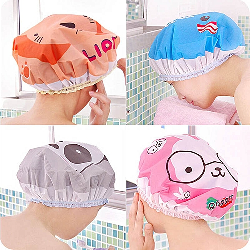 Cartoon Women Shower Bath SPA Cap Blue