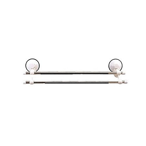 Double Way Bathroom Towel Rail - Towel Hanger - With Suction - Silver