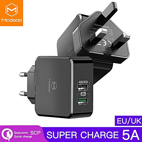 Mcdodo EU UK Adapter USB Charger For Samsung HUAWEI Mate 20 Pro P20 Honor 10 Wall Charger 5A Fast Charging