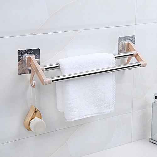Suction Stainless Steel Bathroom Towel Double Bar Rail Rack Holder With Hooks
