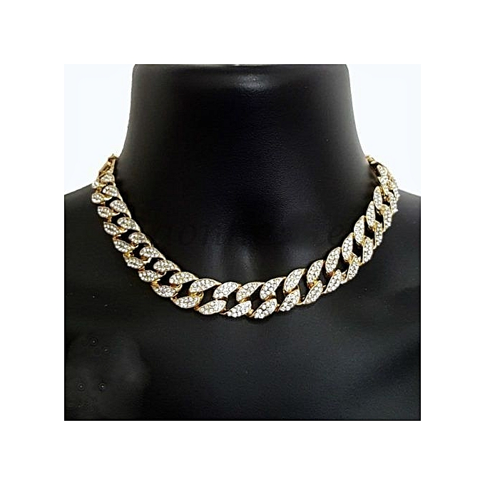 48ce52ee355425 Gold 18k Gold Plated Finish Iced Out Miami Cuban Link Choker Chain ...