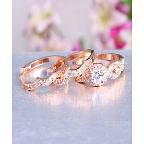 BLiNG Rose Gold Plated Silver 3 Piece Cubic Zirconia Ring Engagement Wedding Set Size 8
