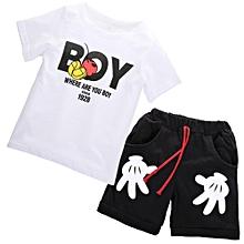 b3cd32f9b75 2pcs Toddler Kids Baby Boy Summer T-shirt Tops+Shorts Outfits Clothes Set(