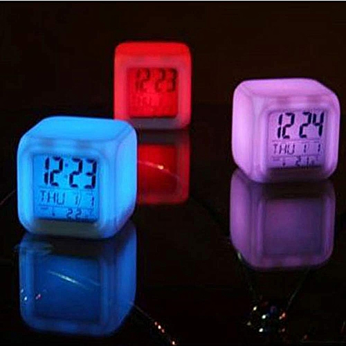 Dtrestocy Digital Alarm Thermometer Night Glowing Cube 7 Colors Clock LED Change