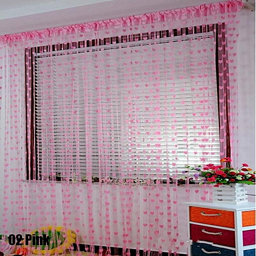 Colorful Romantic Love Pattern Line Curtain - Pink