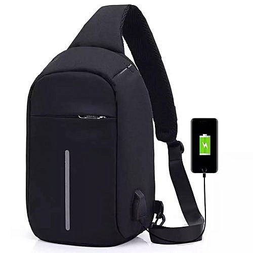 Anti Theft Sling Backpack, Chest Bag, Single Shoulder Strap, Cross Body Bags, Anti Theft Bag Security Travel Backpack & Laptop Bag,Water Repellent With USB Charging Port - Black
