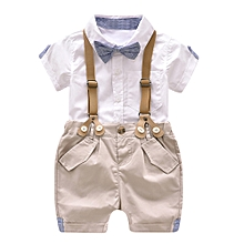1391f6e68f4 Baby Outfit Kids Baby Boys Summer Gentleman Bowtie Short Sleeve  Shirt+Suspenders Shorts Set-