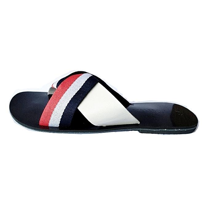 8f34dd063e09 Contrast Striped Ladies Flat Slippers - Multicolour Contrast Striped Ladies  Flat Slippers - Multicolour ...