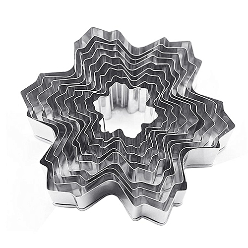 Home-9PCS/SET Snowflake Shape Stainless Steel Cookie Cutter Kitchen Baking Mould Silver