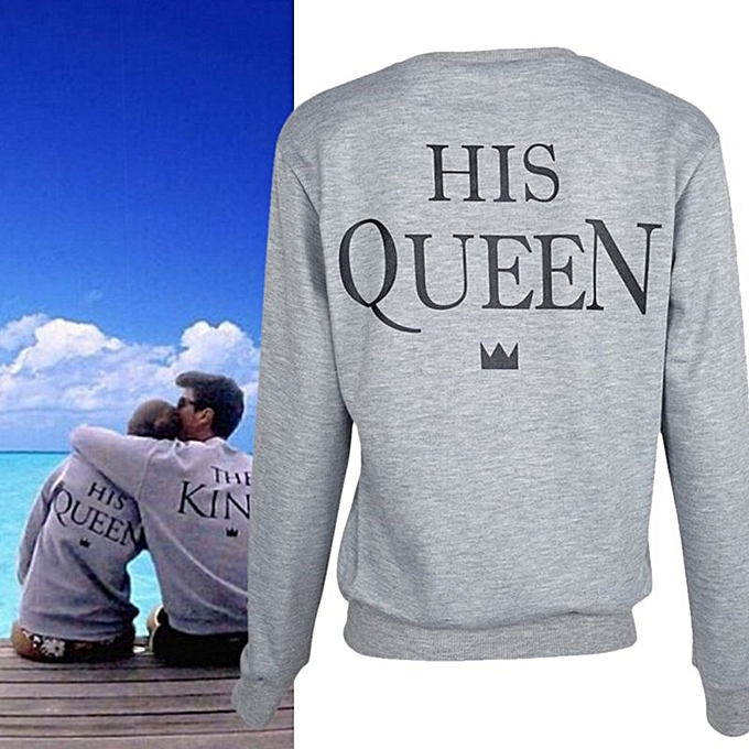 68ed57587d Couple Matching Hoodies King And Queen Print Casual Coat Pullover Sweatshirt