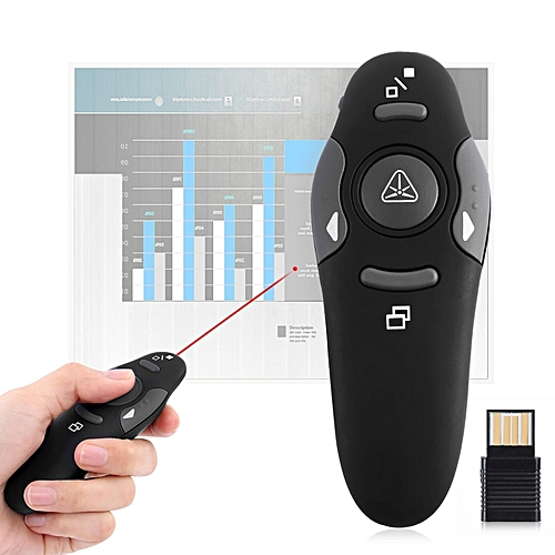 Multimedia Presenter With Laser Pointer & USB Receiver For Projector / PC / Laptop, Control Distance: 15m(Black)