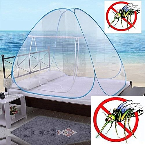Mosquito Net King/Queen Bed Size Self Propping Foldable Tent (150cm X 200cm) - White-Blue