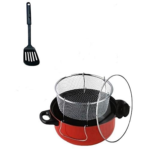 Non Stick Manual Deep Fryer(Black/Red)24cm + One Free Non Stick Spoon