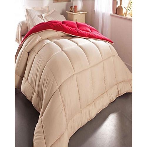 Reversible Luxury Quilted Bedsheet & Duvet Set - Beige/red