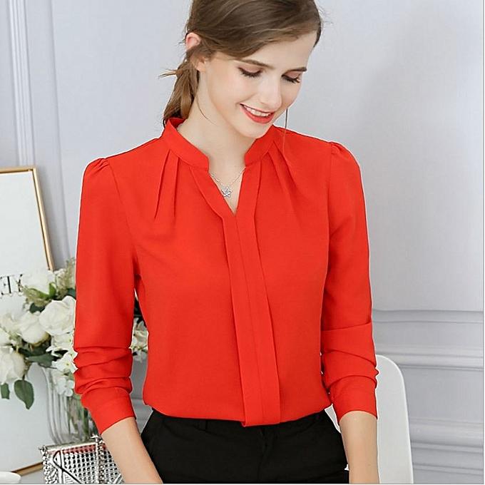 35097192d646 Mengxiner Fashion Women Office Formal Plain Sexy Long Sleeve Shirt ...