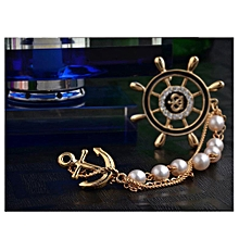 Men's Elegant Navy Rudder Pearls Chains With Anchor Brooches Lapel Pin Suit