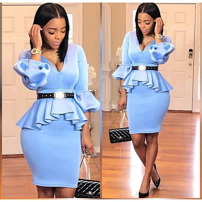 097e1c19df High Quality Hot Sale Africa Women Plus Size Peplum Midi Bodycon Dress  (Blue)