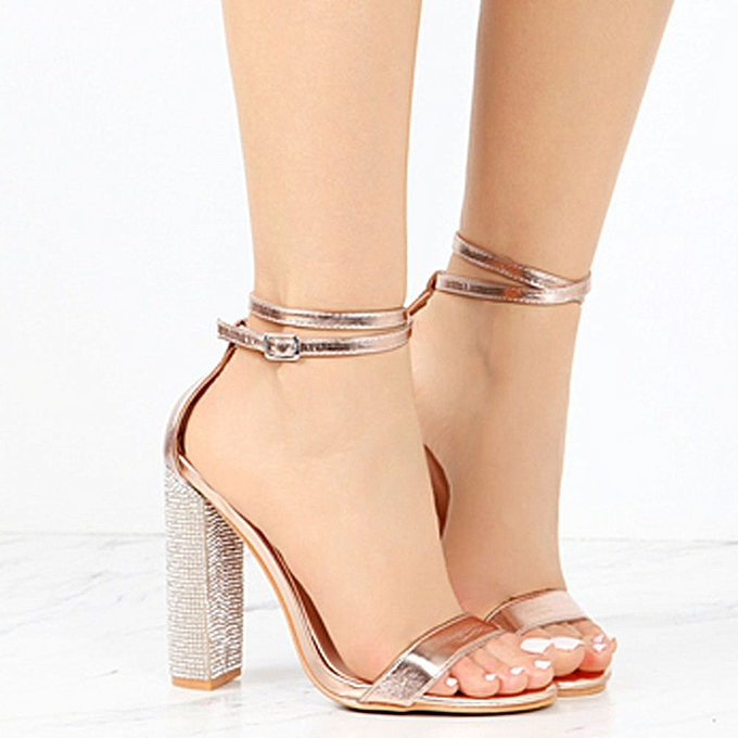 d159a707ff Sexy Europe And America High Heels Buckle Fashion Sandals Large Size Ladies  Single Shoes - Gold