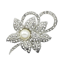 Bridal Flower Grapes Leaf Faux Pearls Brooch Crystal Alloy Pin Brooches