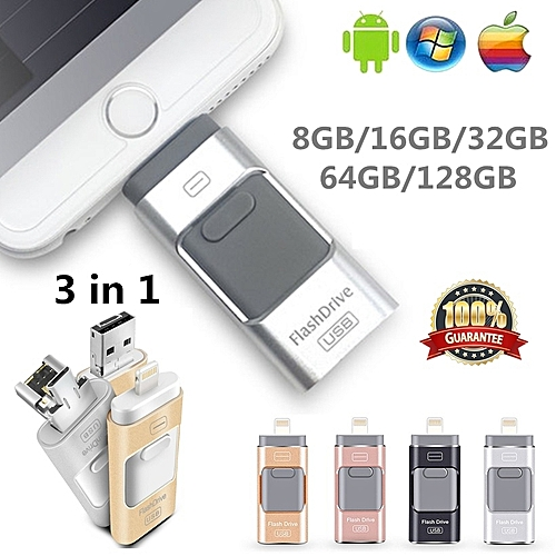 3 In 1 I-FlashDrive For IPhone/iPad/Android/PC 128GB OTG Pendrive