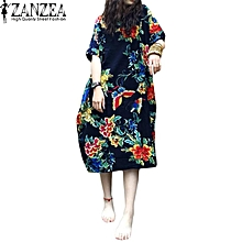 dbe7494eae2 ZANZEA Summer Casual Loose Cotton Linen Oversize Floral Print Midi Dress  Women Vintage Short Sleeve Vestidos