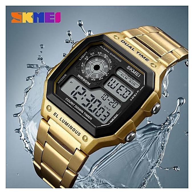 SKMEI Men's Digital Watch Sport Top Brand Luxury Electronic Wristwatch Men Waterproof Multifunction Gold Metal Relogio ...