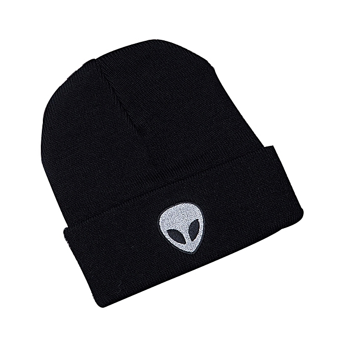 BlueLife Winter Warm Knit Beanie Hat With Alien Embroidery - Black ... 074ff02435f8