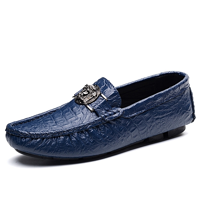 83c002f9989bd Mens Shoes Casual Leather Men Shoes Fashion Men Loafers Moccasins Slip On  Men's Boat Driving Shoes Blue