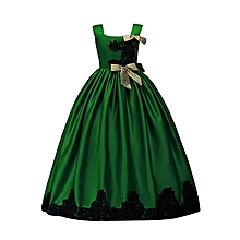Children Suspended Wedding Long Dress -Green, Black And Gold