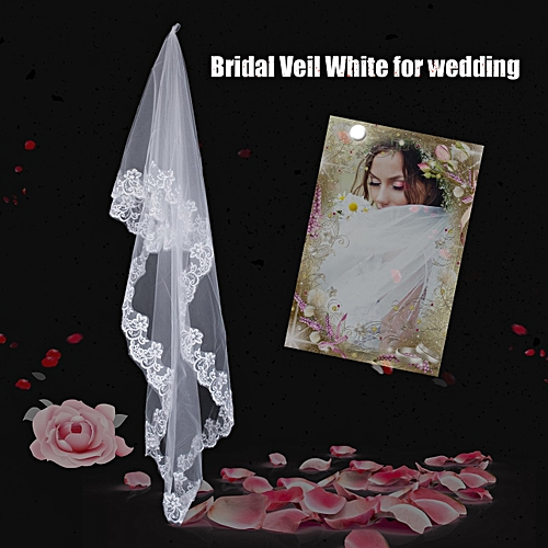 Allwin 3 Meters Long Lace Edge Cathedral Wedding Gown Bridal White Tulle Veil