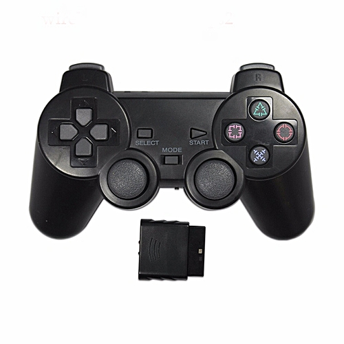 Transparent Color Wireless Controller 2.4G Vibration Controle Gamepad For Sony Playstation 2 Color:Black
