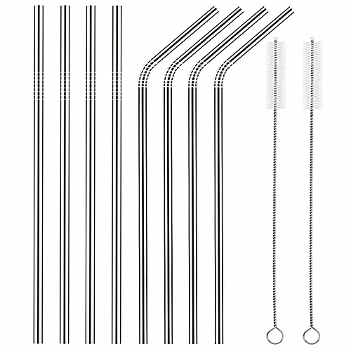 10PCS / Set Reusable Steel Straws With Cleaning Brushes