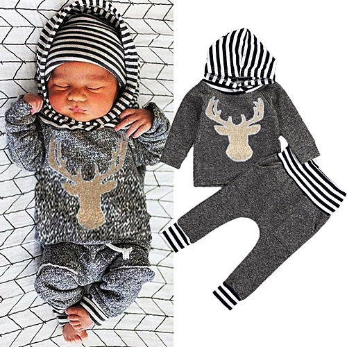 facc272344c48 Fashion Newborn Baby Boy Girl Deer Clothes Tops Hooded T-shirt Pants Outfit  Set
