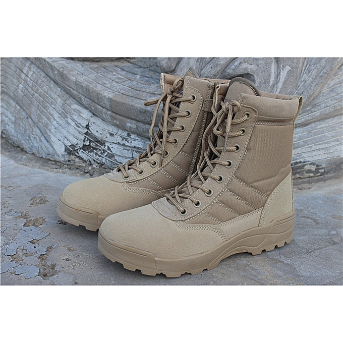 d800a714130 Military Tactical Combat Outdoor Sport Army Men Boots Desert Botas Hiking  Autumn Shoes Travel Leather High Boots Male-khaki