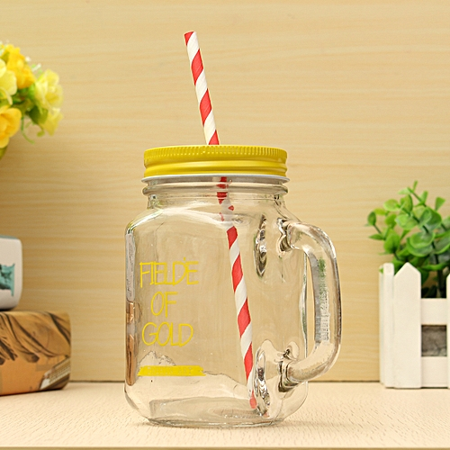 Yellow Creative Fruit Transparent Juice Glass Cup Mason Jar Lemon Bottle With A Cover And A Straw Sport Water Bottle Free Shipping