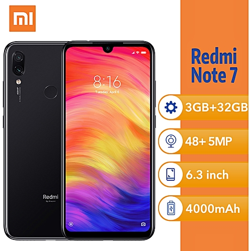 (Xiaomi) Redmi Note 7 6.3-Inch FHD (3GB, 32GB ROM) Android 9.0 (Pie) (48MP + 5MP) + 13MP 4G Face & Fingerprint ID Smartphone - Black