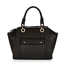 Snakeskin Panel Bowler Bag Black