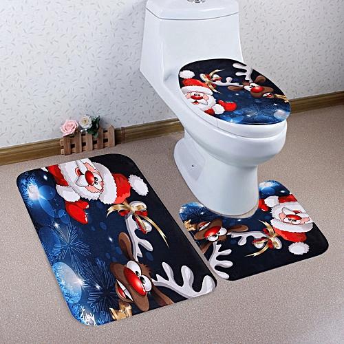 Christmas Santa Deer Pattern 3 Pcs Toilet Mat Bath Mat -