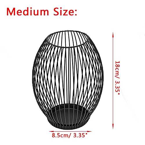 Cage Lantern Black Metal Iron Candle Holder - Medium Size Available Modern Home
