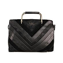 Las Riva Black Panel Mix Grab Fashion Hand Bag