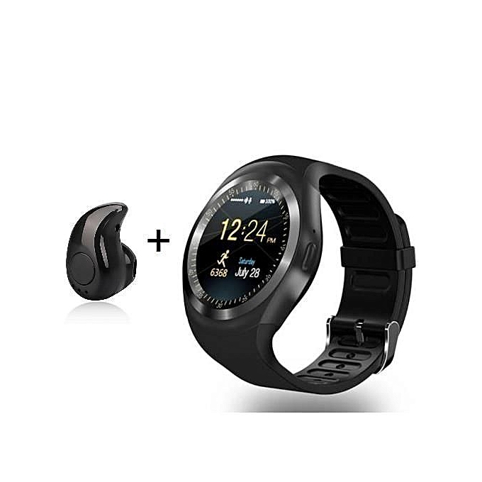 Y1 Round Smart Watch Water Proof With Mini Bluetooth Earpiece