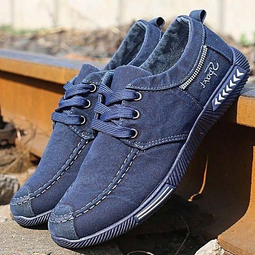 Denim Lace-Up Men Casual Plimsolls Breathable Male Shoes