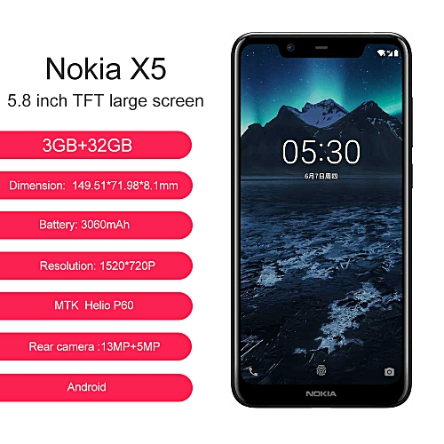 X5-5.86-Inch HD+(3GB RAM +32GB ROM) Android 8.1, (13.0MP + 5.0MP) + 8.0MP, 4G LTE Smartphone -Black