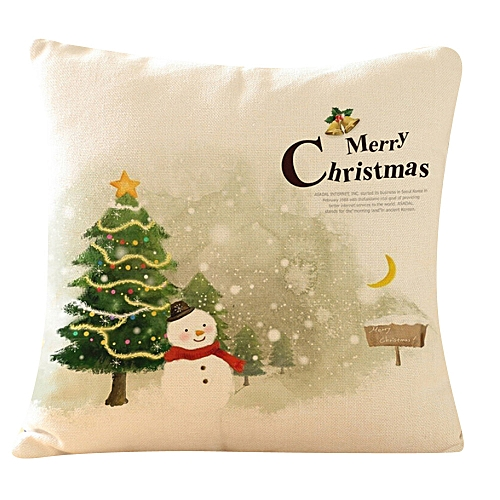 Christmas Tree Printing Dyeing Sofa Bed Home Decor Pillow Cover Cushion Cover B