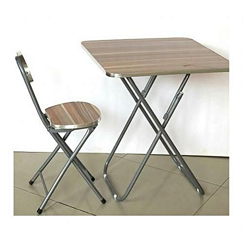 Foldable Laptop Table And Chair (Wood & Metal)