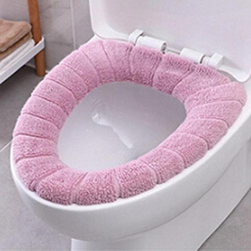 Shinewerop Fashion Pure Color Toilet Bowl Mat Simple Plush Toilet Seat Cushion