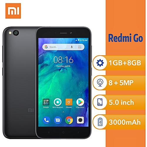 (Xiaomi) Redmi Go 5-Inch HD Qualcomm Quad-Core (1GB, 8GB ROM) Android 8.1 Oreo Go, 8MP + 5MP Dual SIM 4G Smartphone - Black