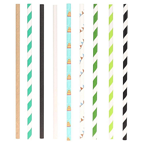 Disposable Straignt Food Grade Paper Straws For Wedding Birthday Party